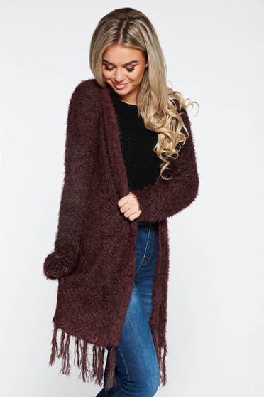 Top Secret burgundy casual knitted cardigan with fringes at the bottom