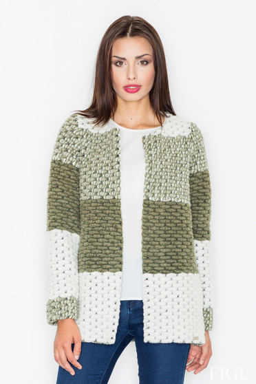 Darkgreen casual knitted cardigan from thick fabric