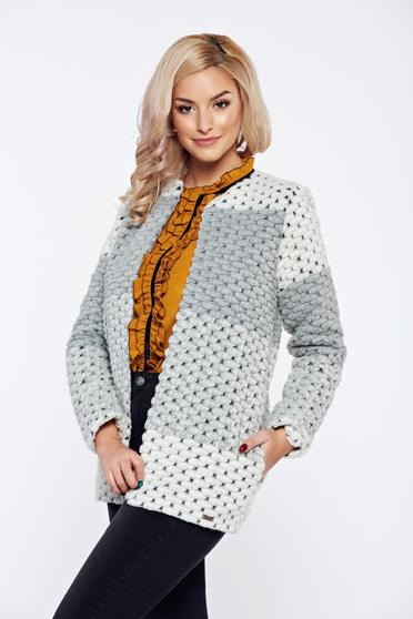 Grey casual knitted cardigan thick fabric