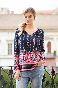 StarShinerS Fall Roses Black Blouse