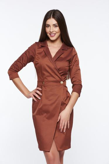 PrettyGirl wrap around elegant daily brown dress with a cleavage