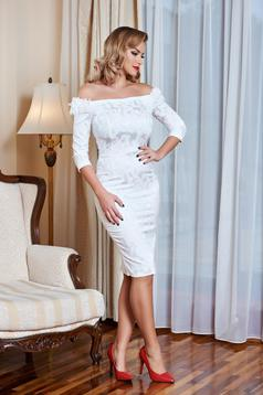 StarShinerS white occasional jacquard on the shoulders dress