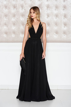 Ana Radu black occasional dress from veil fabric with v-neckline