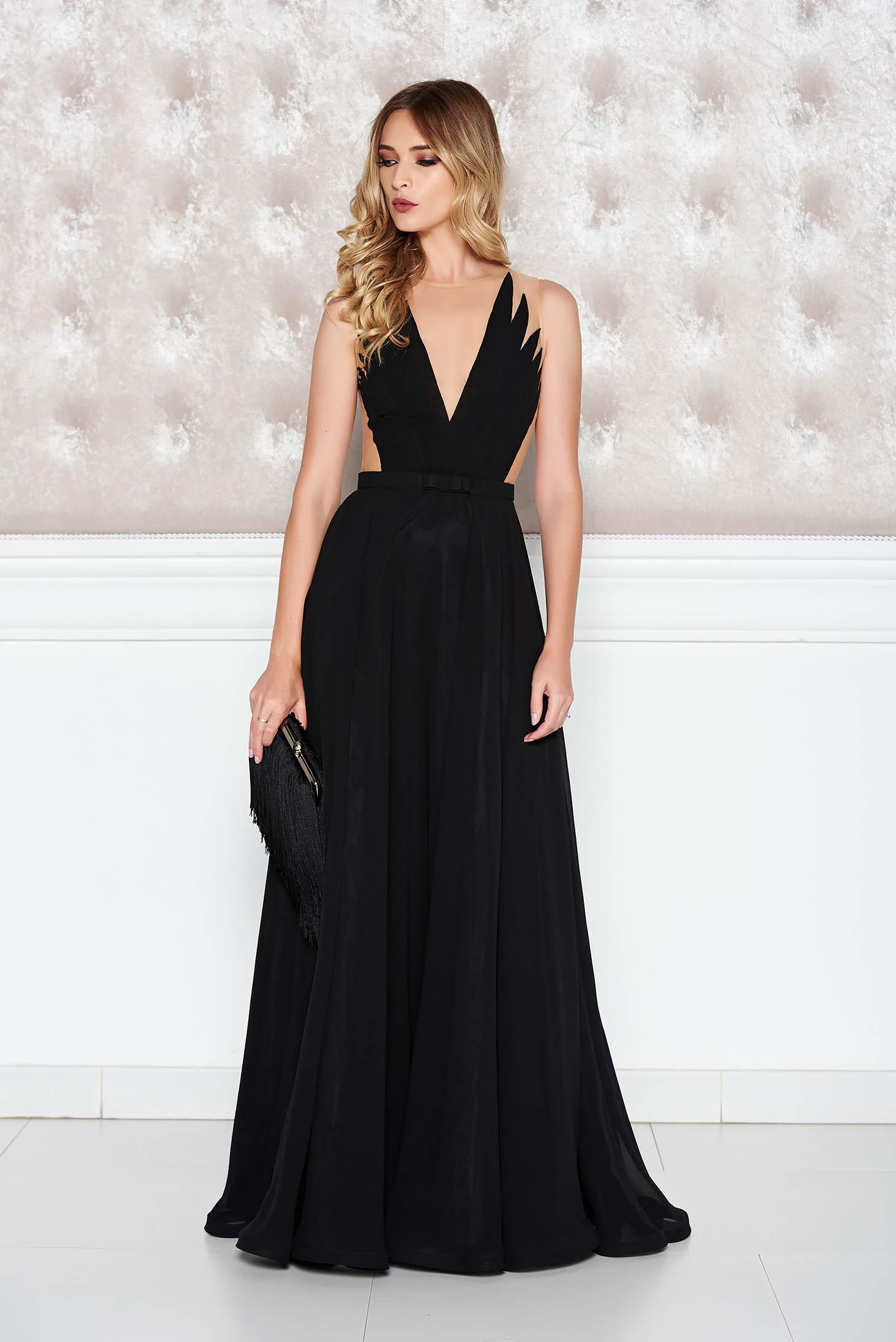 Fekete Ana Radu alkalmi ruha fátyol v-dekoltázzsal e108b266ba