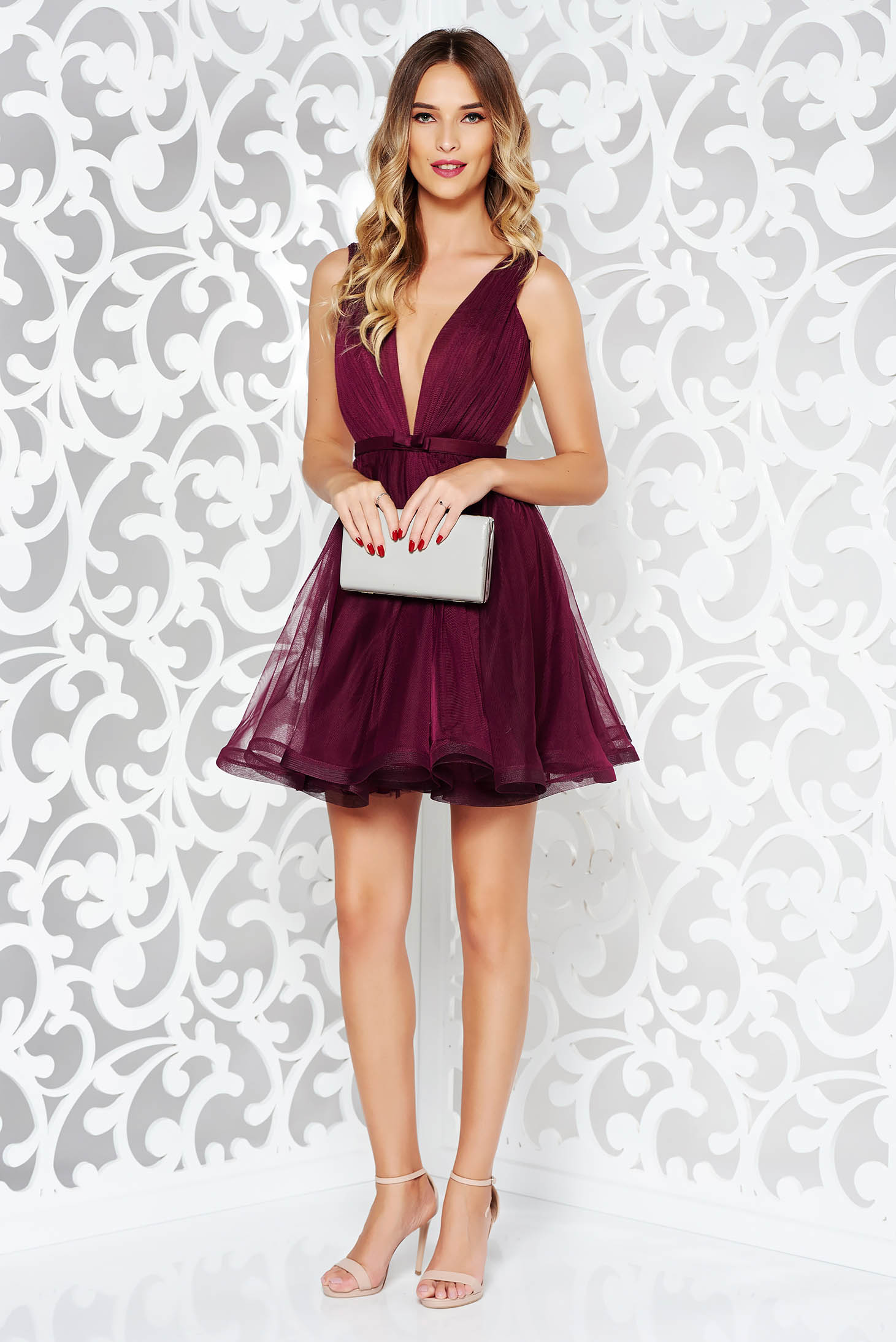 Ana Radu cloche purple luxurious dress with a cleavage from tulle with inside lining accessorized with tied waistband