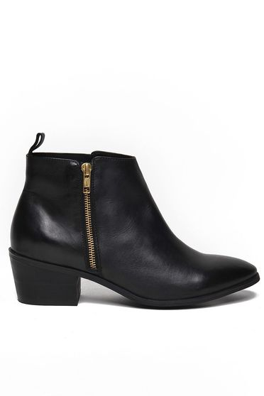 Top Secret black ankle boots natural leather chunky heel