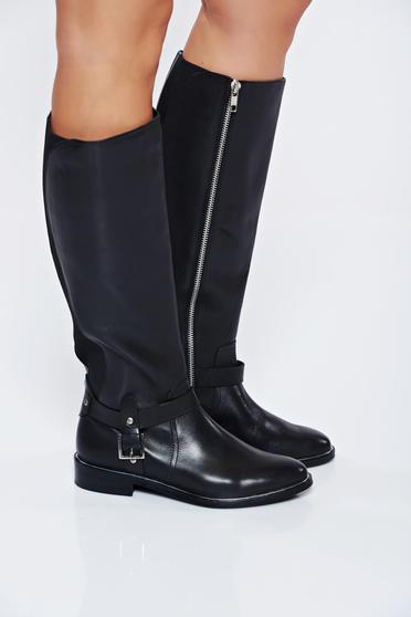 Top Secret black boots natural leather with buckles accessories