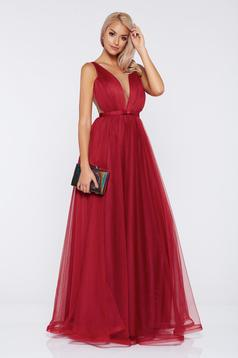 Ana Radu occasional net burgundy dress with v-neckline bow accessory