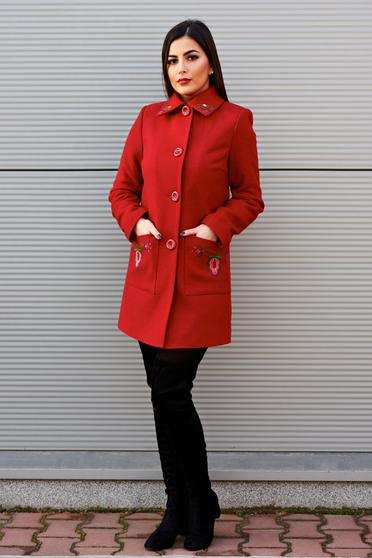 LaDonna red elegant straight coat from wool embroidery details