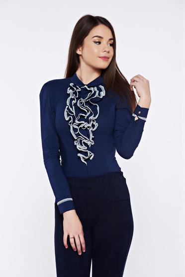 Fofy darkblue office elegant body slightly elastic cotton