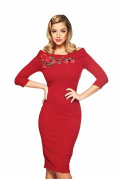 StarShinerS Theo Rose Attractiveness Red Embroidered Dress