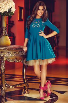 StarShinerS Theo Rose Girly Turquoise Embroidered Dress