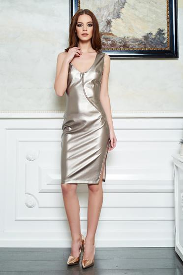 StarShinerS silver dress clubbing with metallic aspect from ecological leather pencil