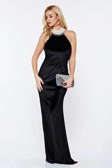 StarShinerS black occasional mermaid dress from velvet with pearls