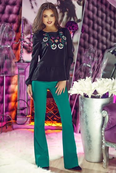 StarShinerS Theo Rose Delight Black Embroidered Blouse