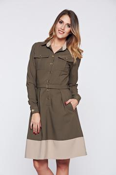 PrettyGirl darkgreen dress office cloche front pockets