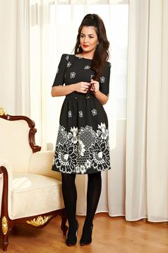 Fofy Flower Print Black Dress