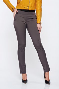 Fofy grey office conical trousers with medium waist with pockets