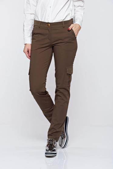 PrettyGirl casual conical with medium waist with pockets darkgreen trousers