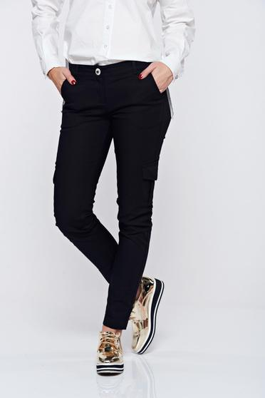 PrettyGirl casual conical with medium waist with pockets black trousers
