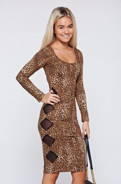 MissQ brown pencil dress animal print long sleeve