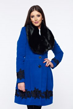 LaDonna cloche blue elegant coat embroidery details