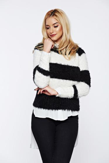 Top Secret black knitted sweater with easy cut from fluffy fabric
