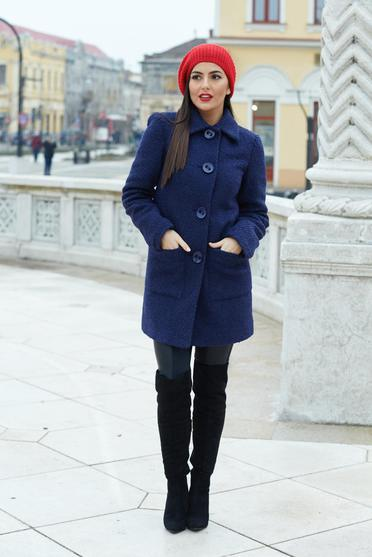 LaDonna darkblue coat from wool with pockets