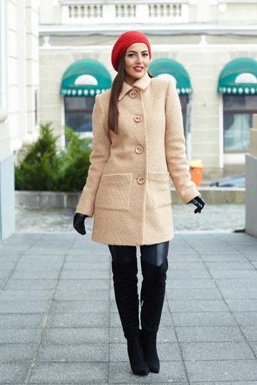 LaDonna cream coat from wool with pockets