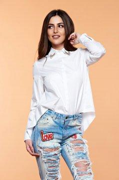 PrettyGirl Military Girl White Shirt