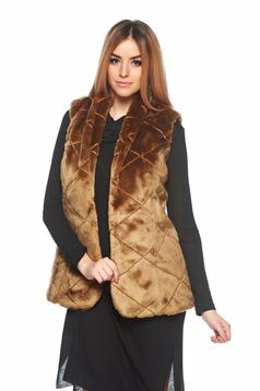 PrettyGirl brown ecological fur gilet with inside lining