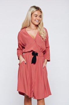 Daniella Cristea elegant peach voile fabric dress elastic waist