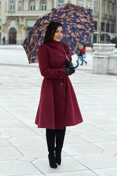 Artista burgundy coat from wool with pockets with inside lining