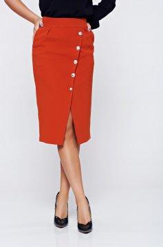PrettyGirl orange skirt office button accessories with pockets