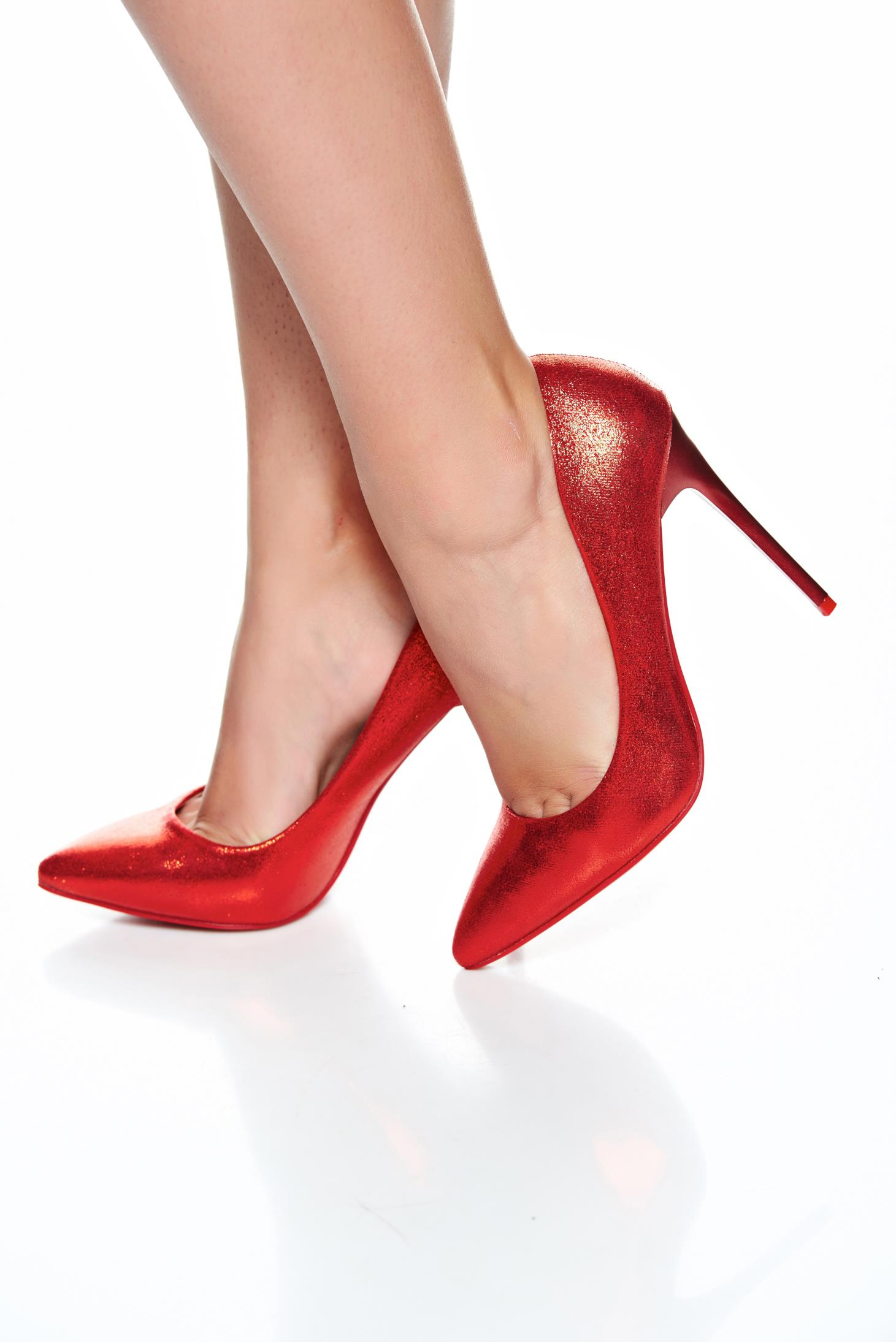Elegant Red High Heels Ecological Leather Stiletto Shoes