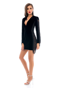 Ana Radu short occasional velvet black dress with fringes