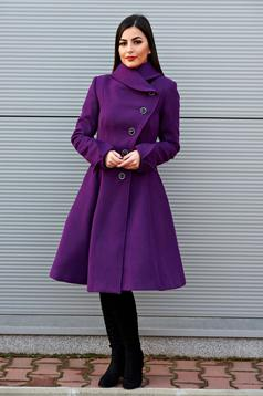 Artista purple coat from wool with pockets with inside lining