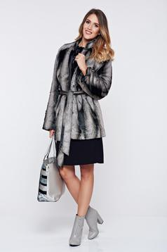 PrettyGirl grey ecological fur coat accessorized with tied waistband