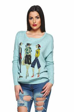 Stylish Character LightBlue Sweater