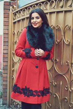 LaDonna cloche red elegant coat embroidery details