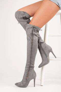 Classy Heels Grey Boots