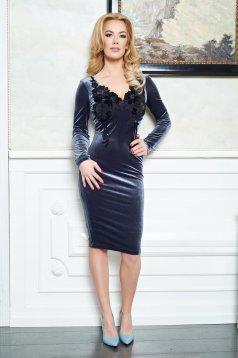 LaDonna Embroidered Velvet DarkGrey Dress