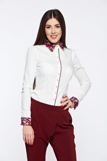Fofy burgundy office women`s shirt from elastic cotton with lace details