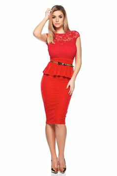 Fofy Gentle Line Red Dress