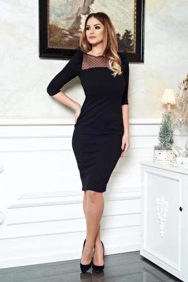 StarShinerS black dress pencil with 3/4 sleeves knitted fabric