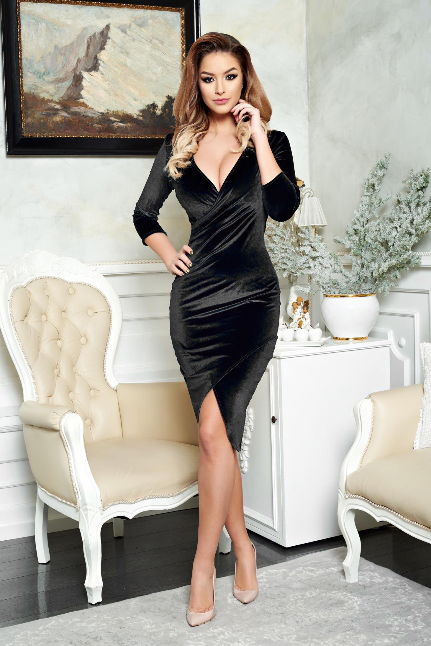 StarShinerS black dress from velvet pencil elegant