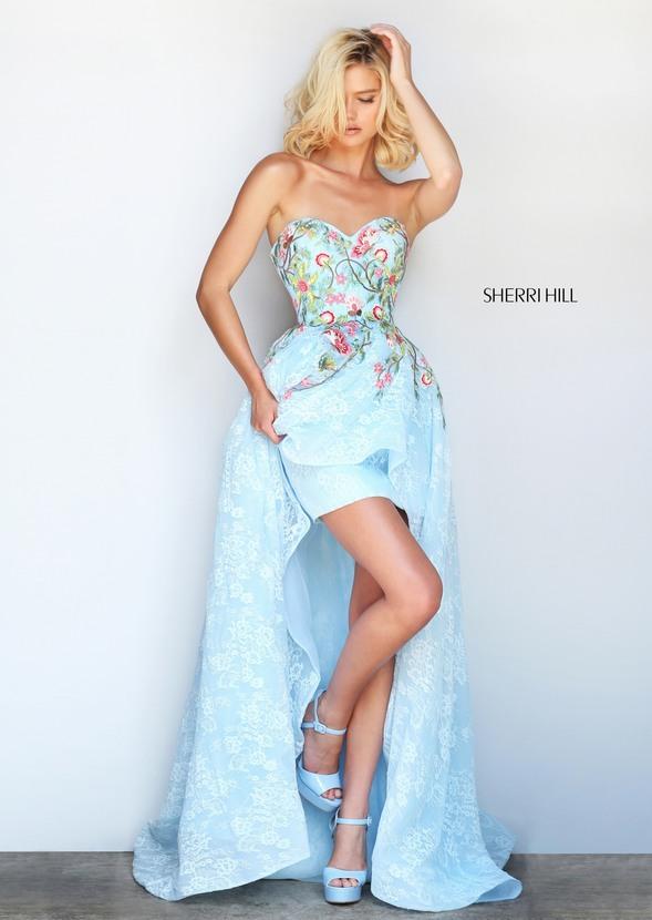 Rochie Sherri Hill 50966 Albastru Deschis