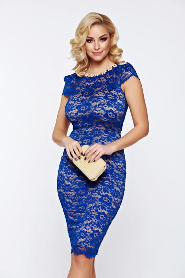 Fofy blue bare back occasional dress accesorised with necklace