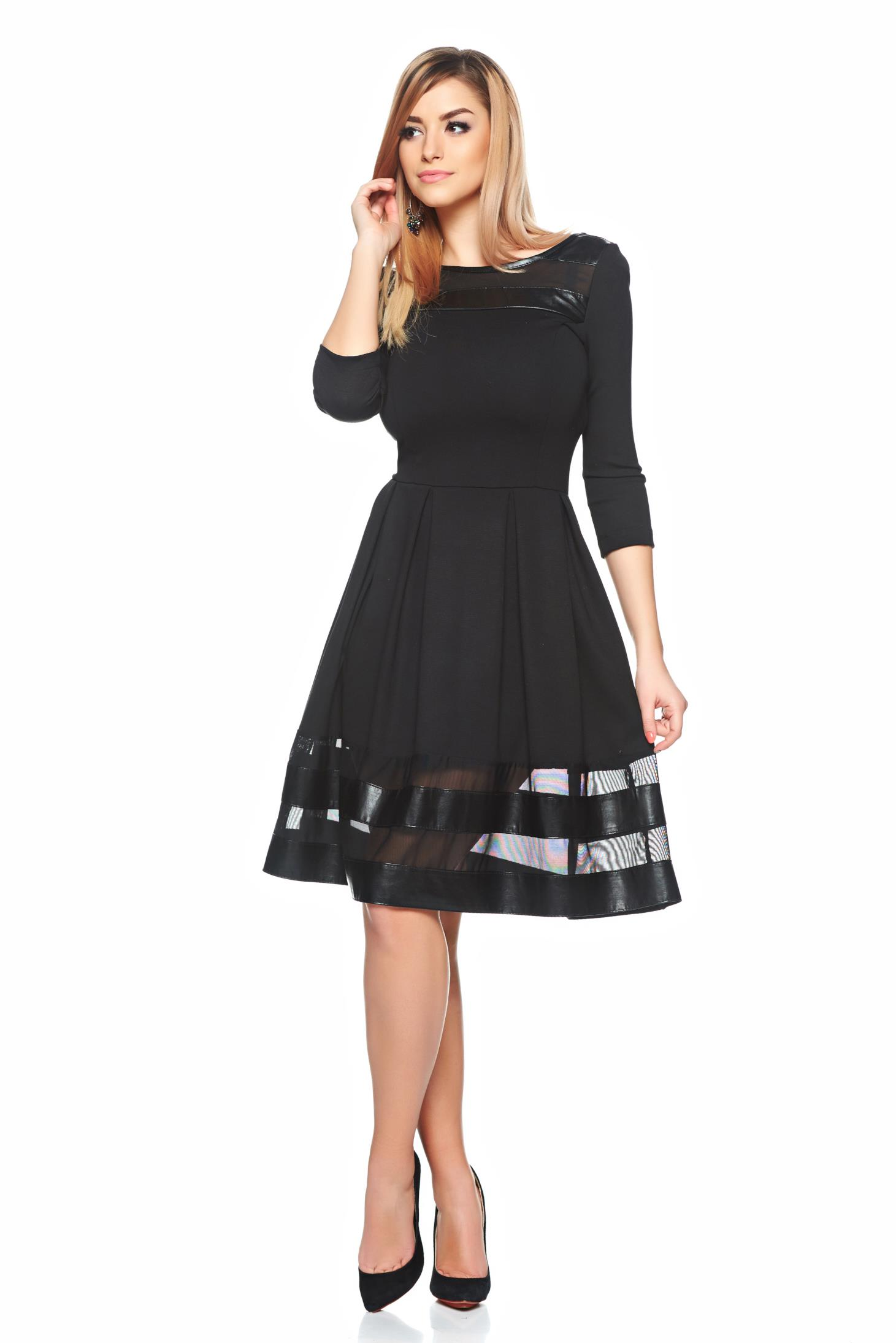 Rochie StarShinerS neagra eleganta in clos cu tul