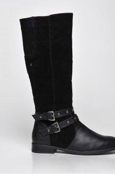 Top Secret black low heel boots metallic spikes